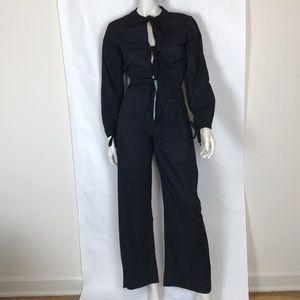Vintage 70s black boiler suit flare coveralls XS